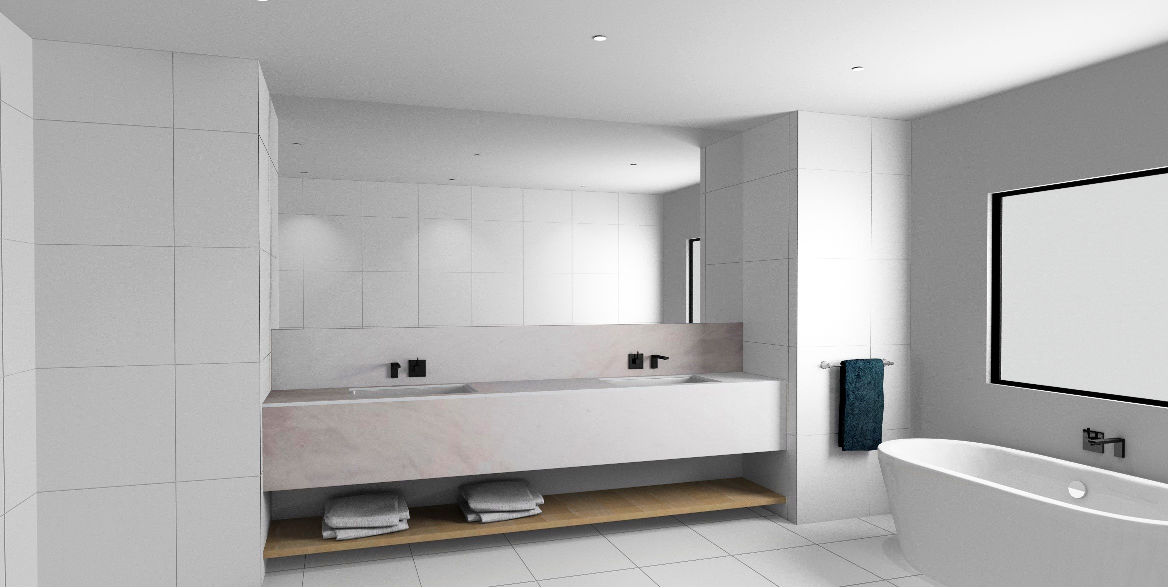 A 3D bathroom render made with KD max