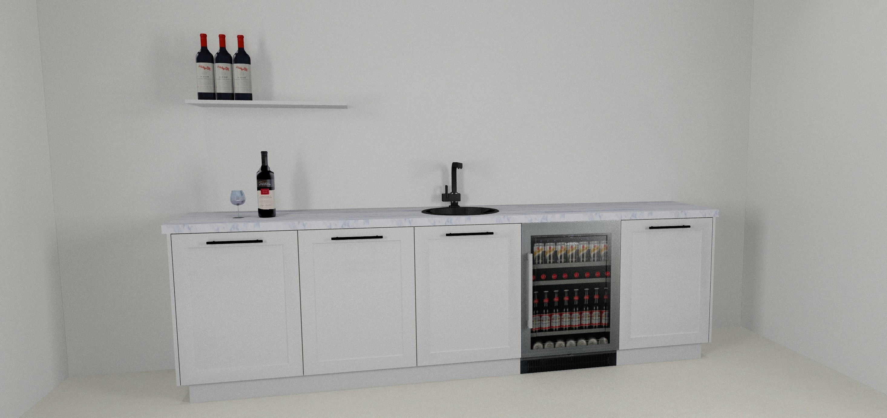 A 3D designed mini-bar rendered with KDMax