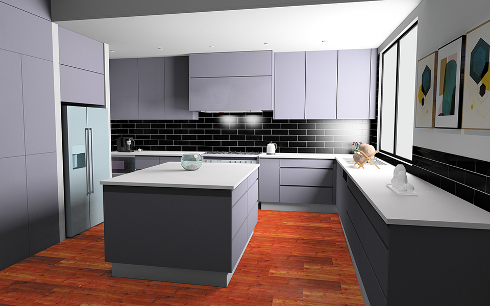 Cabinet by Computer - Open Kitchen Layout