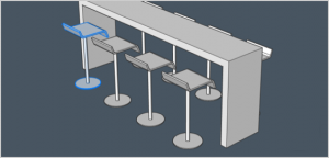 gray scale bar stools render