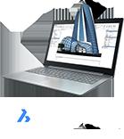 Laptop with BricsCAD logo