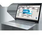 Laptop with WoodCAM logo