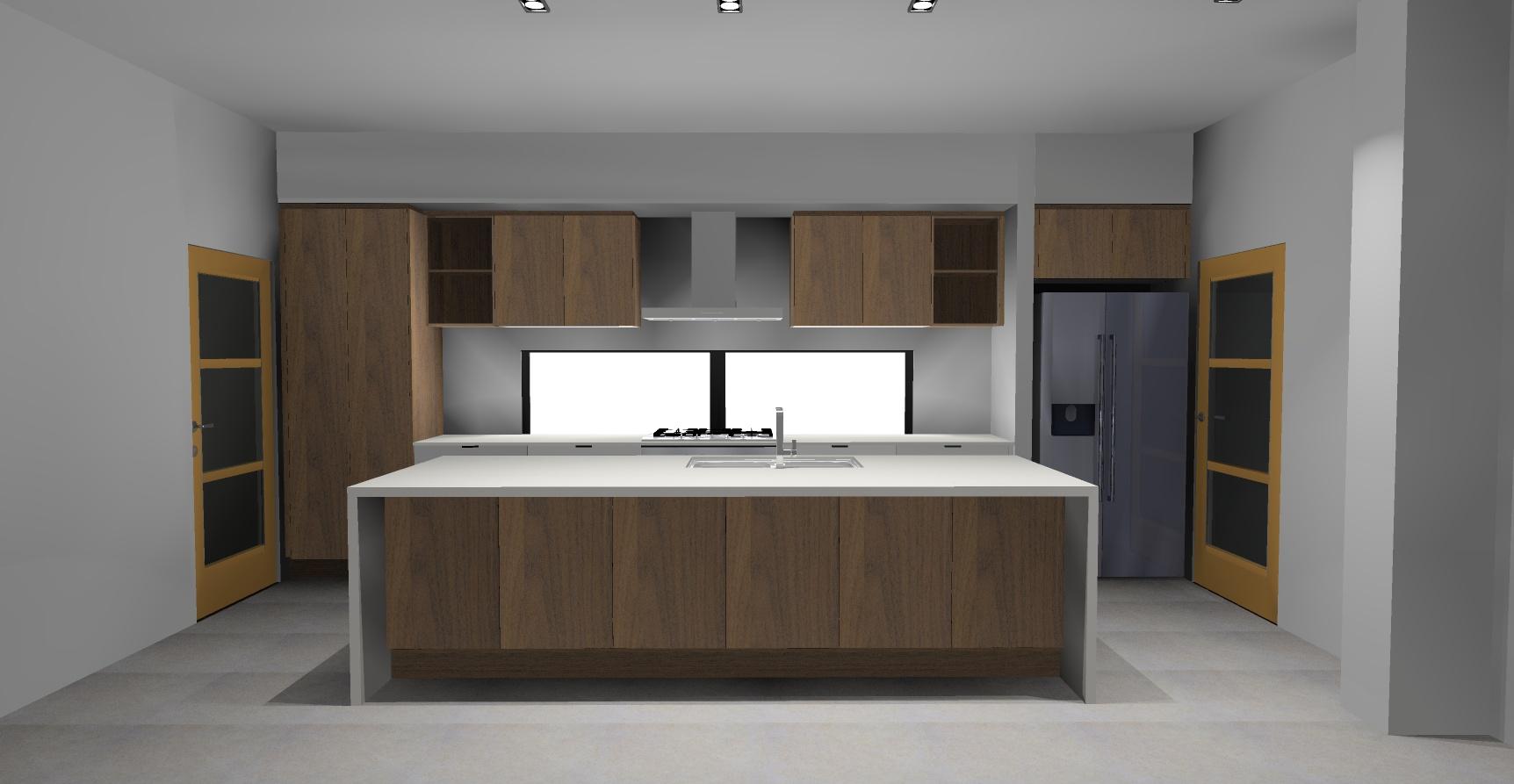 dark wood kitchen render