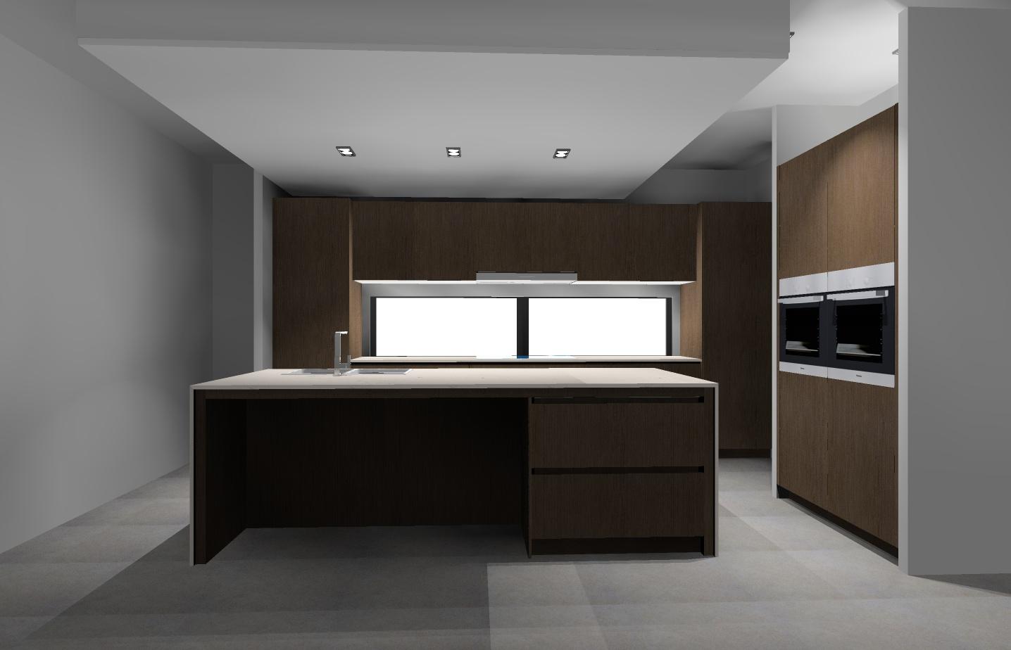 medium wood and stone kitchen render KD Max