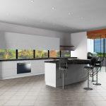 white and gray kitchen, black island render KD Max