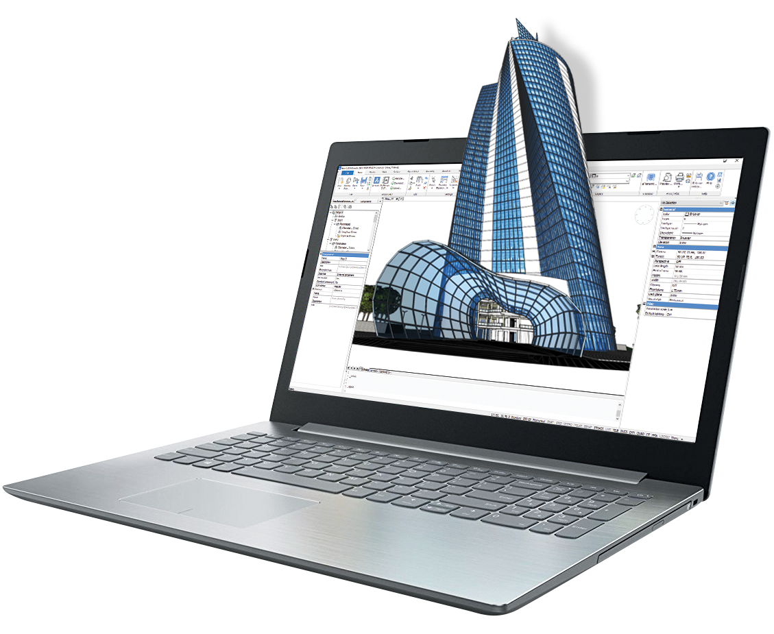 laptop with 3D building coming out of it