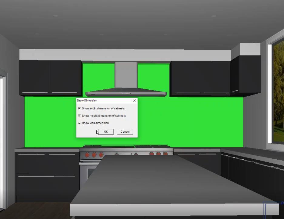 displaying dimensions screenshot