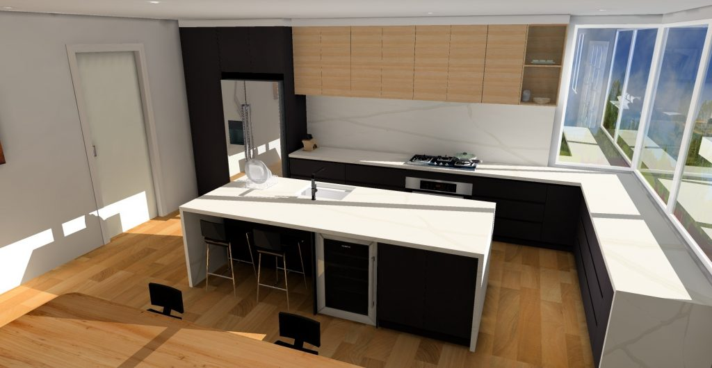 kitchen and dining space KD Max render