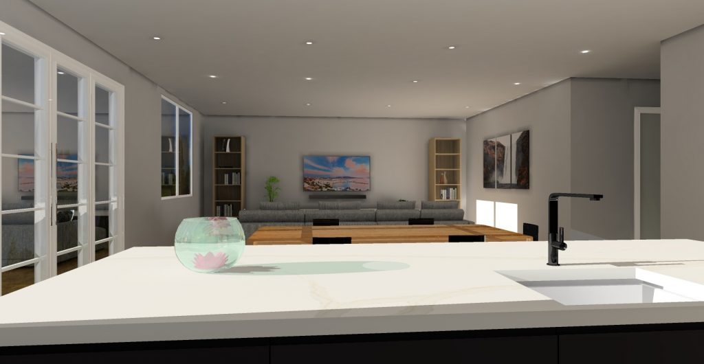 Kitchen and living space KD Max render