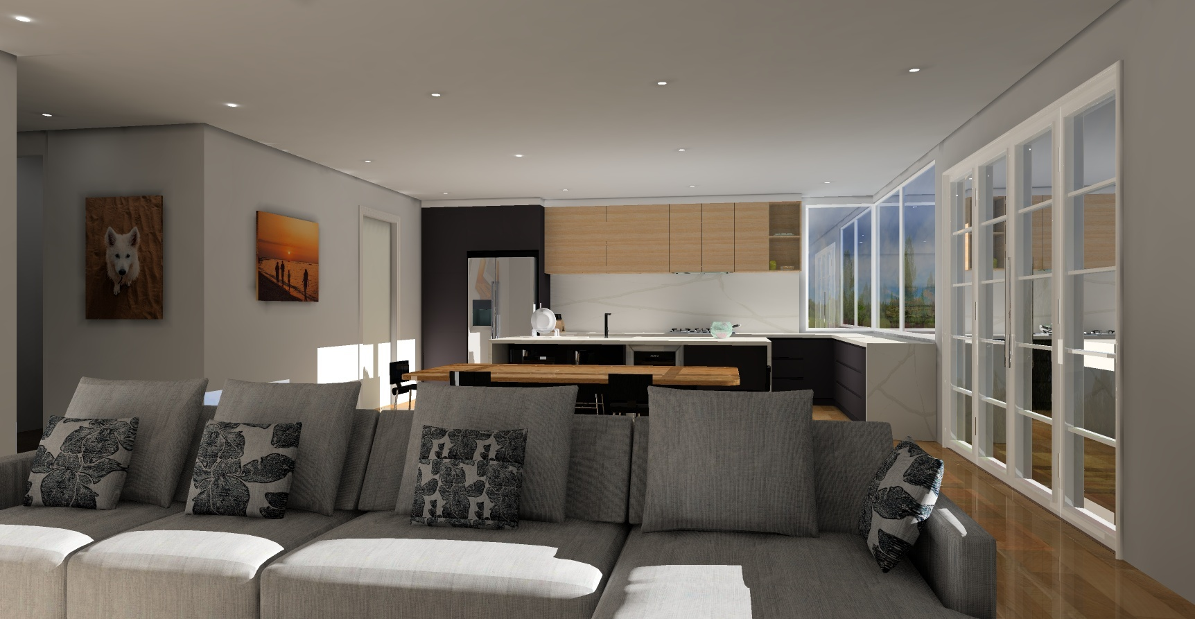 kitchen, dining and living space KD Max render