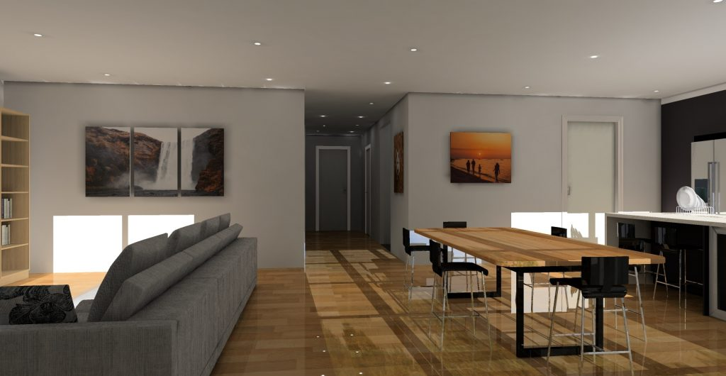 living and dining space KD Max render