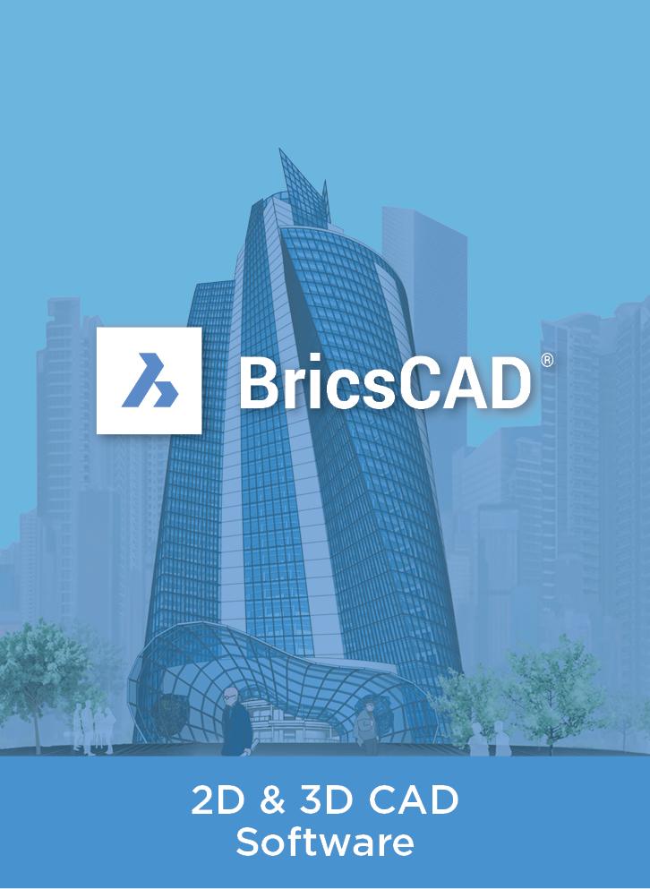 BricsCAD logo over blue wash 3D building render