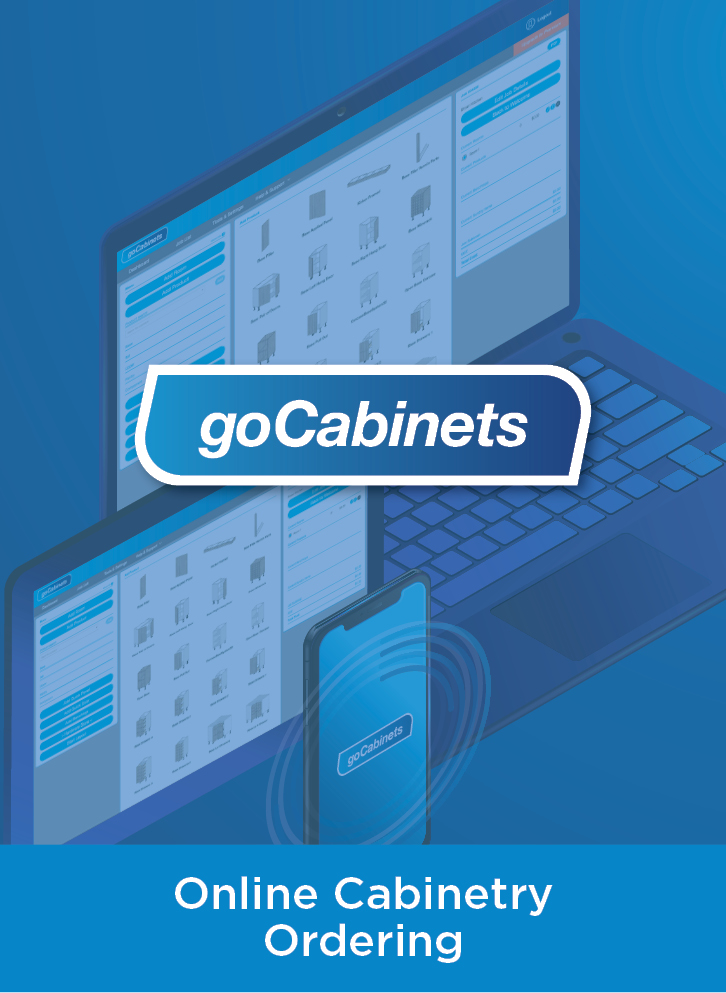 goCabinets logo over a blue washed laptop, tablet, and phone graphic