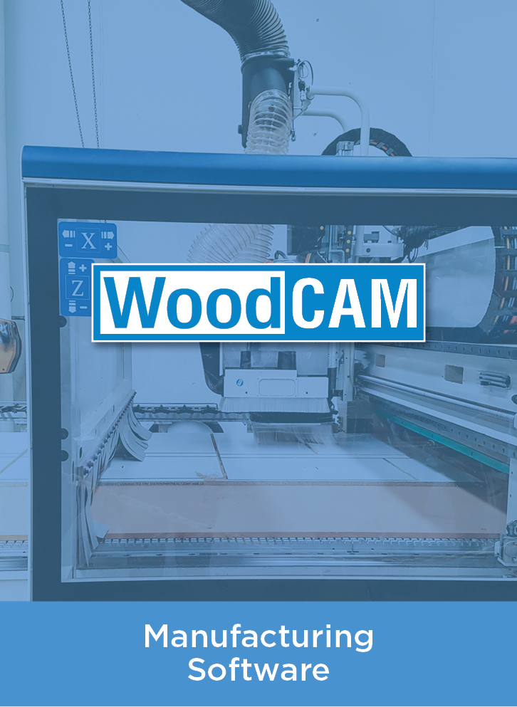 woodCam logo over blue wash picture of manufacturing machine