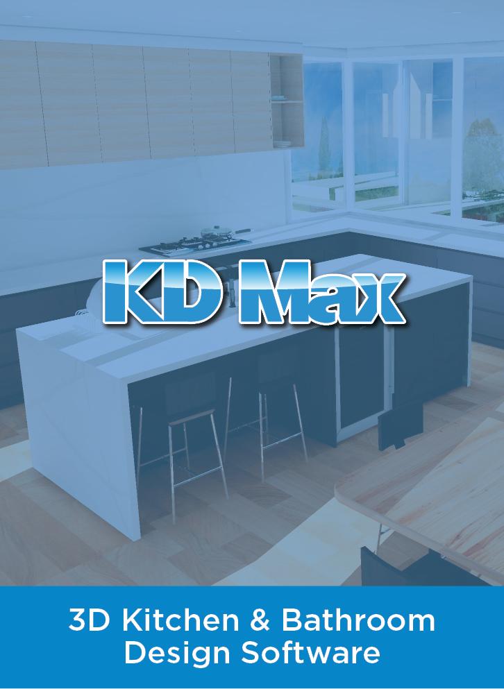 KD Max logo over blue wash of kitchen render